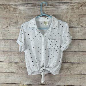 Japna Polka Dot Front Tie Button up shirt